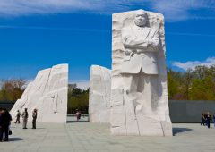 Washington DC, USA - March 28, 2012: Martin Luther King, Jr. Memorial. It is located in West Potomac Park in Washington, D.C., southwest of the National Mall.  Sculptor: Lei Yixin. Material: Granite. Opening date: October 16, 2011. Tourists are walking around and enjoying the monument.